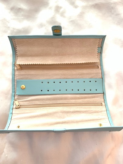 Jewelry Bag Roll Up Leather Jewelry Holder for Travel or Storage in Tiffany Green Image 2