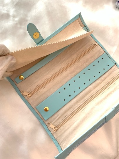 Jewelry Bag Roll Up Leather Jewelry Holder for Travel or Storage in Tiffany Green Image 3