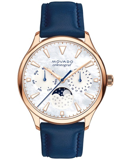 Preload https://img-static.tradesy.com/item/25433165/movado-rosegold-women-s-swiss-heritage-celestograf-navy-leather-strap-36m-watch-0-0-540-540.jpg
