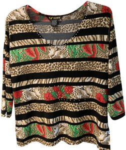 Valentina Silver Studs By Neck Machine Washable Top Animal print with black stripes & red flowers