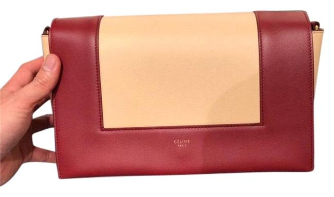 Item - Frame Medium In Shinny Smooth Brick Red with Cream White Calfskin Leather Cross Body Bag