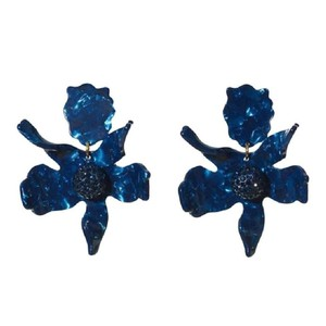 Lele Sadoughi E117 Lele Sadoughi Navy Blue Crystal Lily Gold Plated Clip Earrings
