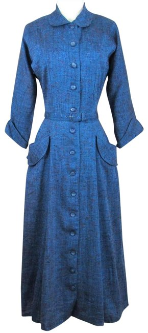Preload https://img-static.tradesy.com/item/25433688/blue-vintage-1940s-specks-of-red-matching-covered-belt-long-workoffice-dress-size-6-s-0-1-650-650.jpg
