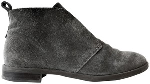 Franco Sarto Comfortable Slip On Round Toe Stacked Heel Leather Grey Suede Boots
