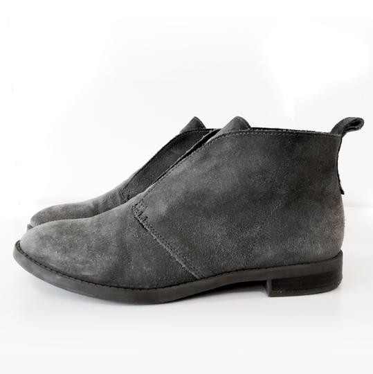 Franco Sarto Comfortable Slip On Round Toe Stacked Heel Leather Grey Suede Boots Image 1