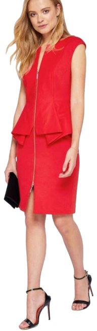 Ted Baker New Red London Kwyli Structured Peplum Body-con Short Cocktail Dress Size 6 (S) Ted Baker New Red London Kwyli Structured Peplum Body-con Short Cocktail Dress Size 6 (S) Image 1