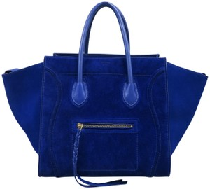 Céline Medium Luggage Phantom Suede Tote in Cobalt - item med img