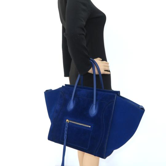Céline Medium Luggage Phantom Suede Tote in Cobalt Image 11