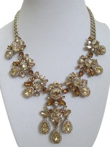 Givenchy Champagne Swarovski Crystal Cluster Drop Charm Statement Necklace