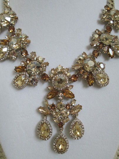Givenchy Champagne Swarovski Crystal Cluster Drop Charm Statement Necklace Image 1