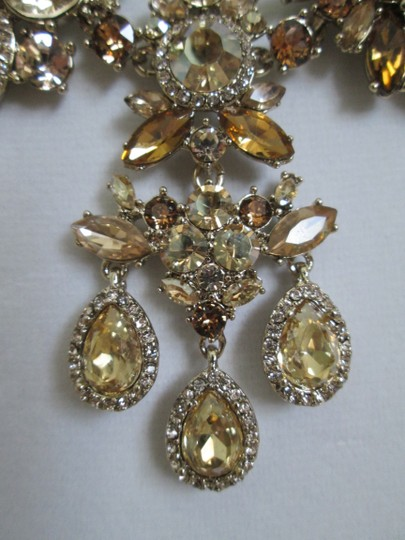 Givenchy Champagne Swarovski Crystal Cluster Drop Charm Statement Necklace Image 10