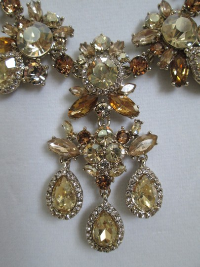 Givenchy Champagne Swarovski Crystal Cluster Drop Charm Statement Necklace Image 11