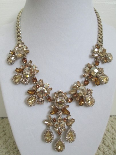 Givenchy Champagne Swarovski Crystal Cluster Drop Charm Statement Necklace Image 2
