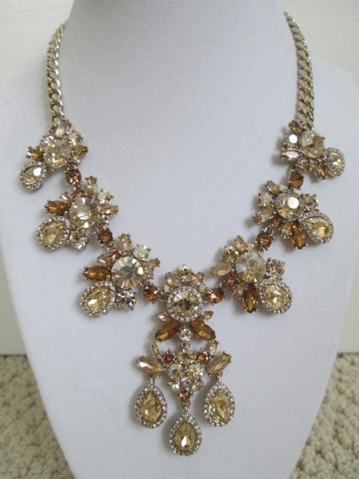 Givenchy Champagne Swarovski Crystal Cluster Drop Charm Statement Necklace Image 3
