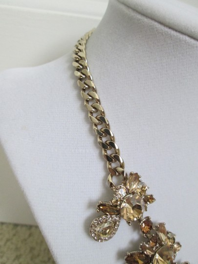 Givenchy Champagne Swarovski Crystal Cluster Drop Charm Statement Necklace Image 5