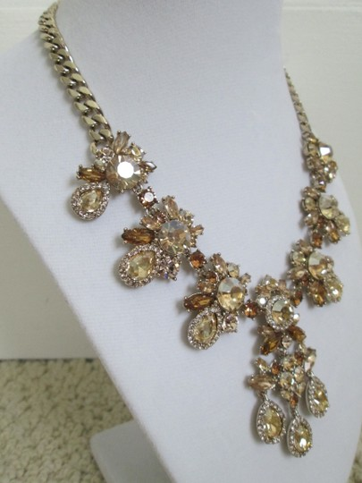 Givenchy Champagne Swarovski Crystal Cluster Drop Charm Statement Necklace Image 6