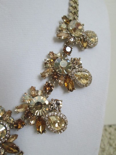Givenchy Champagne Swarovski Crystal Cluster Drop Charm Statement Necklace Image 7