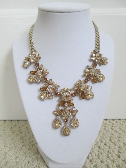 Givenchy Champagne Swarovski Crystal Cluster Drop Charm Statement Necklace Image 8