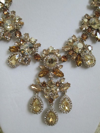 Givenchy Champagne Swarovski Crystal Cluster Drop Charm Statement Necklace Image 9