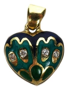 Fine Jewelry Diamond Heart Charm 18K Gold Blue Green Pendant for a Necklace