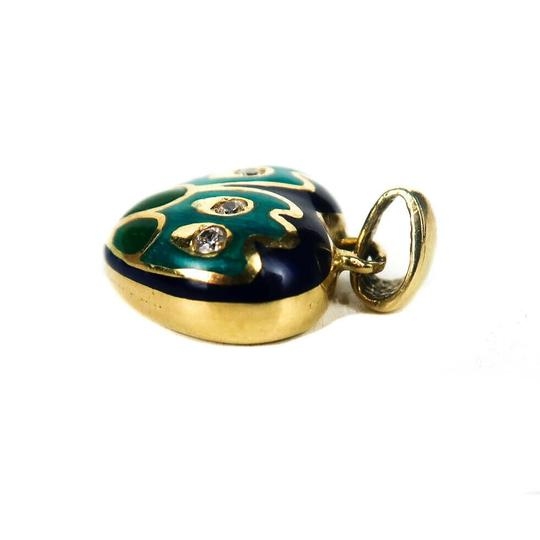 Fine Jewelry Diamond Heart Charm 18K Gold Blue Green Pendant for a Necklace Image 1