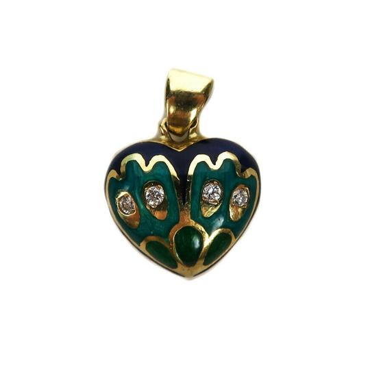 Fine Jewelry Diamond Heart Charm 18K Gold Blue Green Pendant for a Necklace Image 11