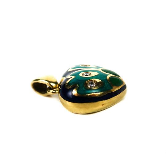 Fine Jewelry Diamond Heart Charm 18K Gold Blue Green Pendant for a Necklace Image 2