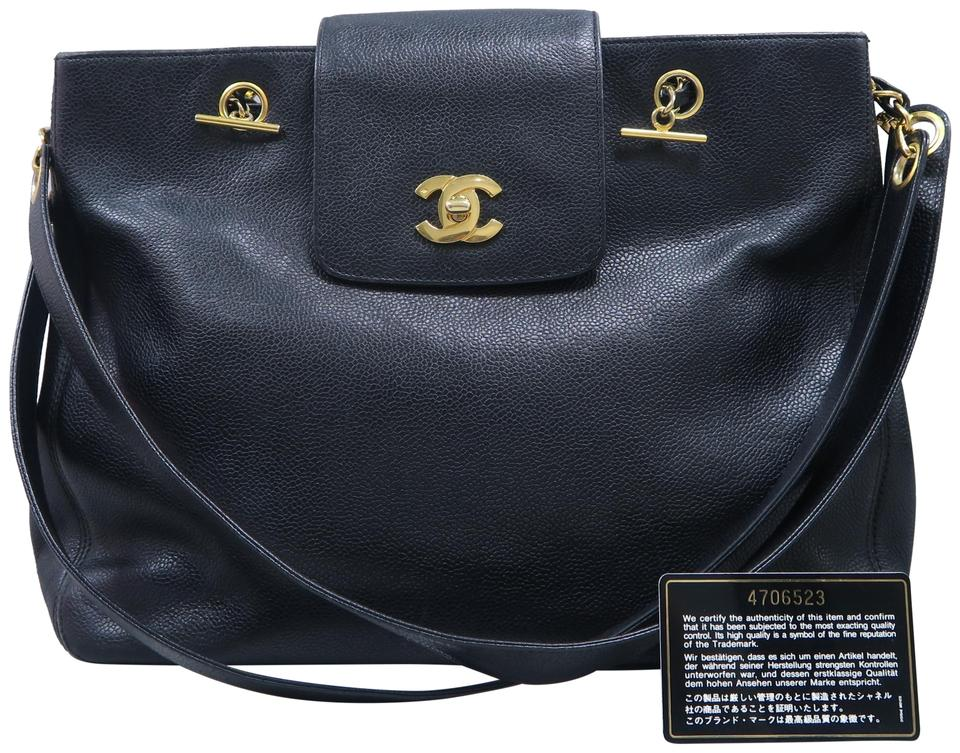 2625c6985a05 Chanel Supermodel Vintage Tote Black Calfskin Shoulder Bag - Tradesy