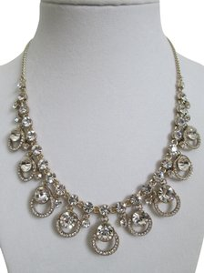 Givenchy Clear Swarovski Crystal Cluster Drop Charm Gold Collar Necklace