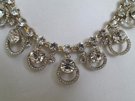 Givenchy Clear Swarovski Crystal Cluster Drop Charm Gold Collar Necklace Image 1