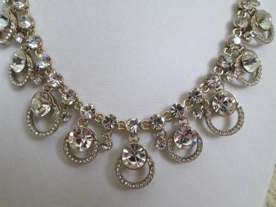 Givenchy Clear Swarovski Crystal Cluster Drop Charm Gold Collar Necklace Image 10