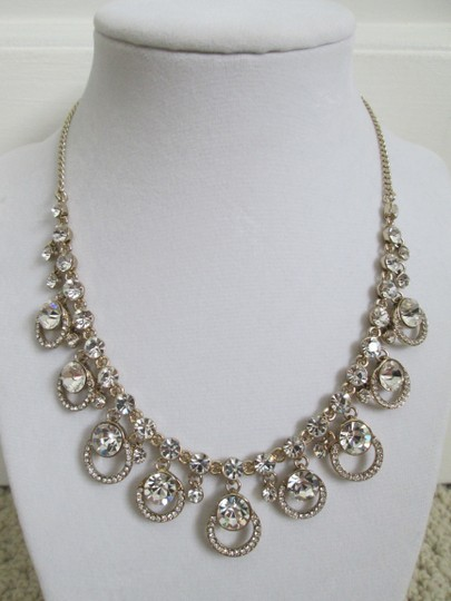 Givenchy Clear Swarovski Crystal Cluster Drop Charm Gold Collar Necklace Image 11