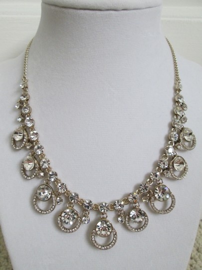 Givenchy Clear Swarovski Crystal Cluster Drop Charm Gold Collar Necklace Image 2