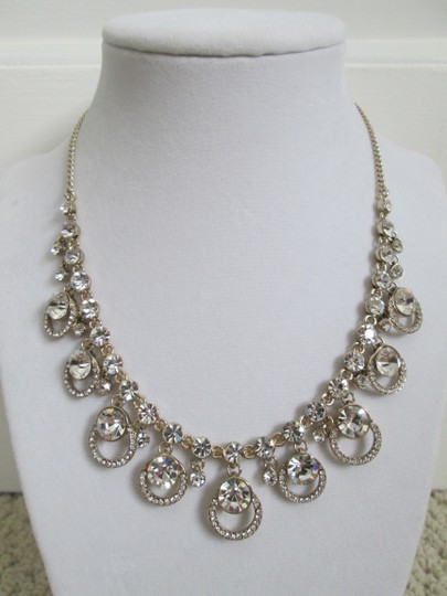 Givenchy Clear Swarovski Crystal Cluster Drop Charm Gold Collar Necklace Image 3