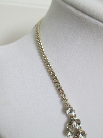 Givenchy Clear Swarovski Crystal Cluster Drop Charm Gold Collar Necklace Image 4