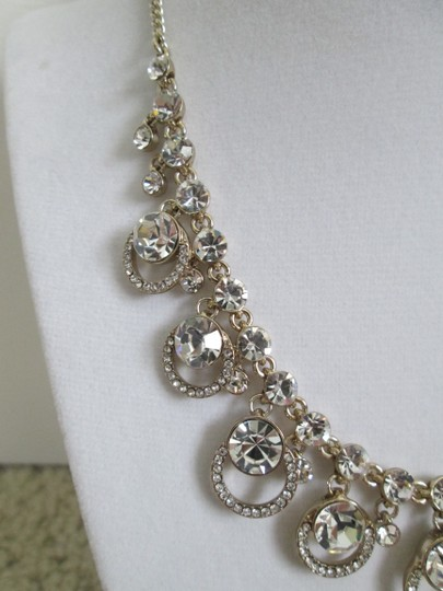 Givenchy Clear Swarovski Crystal Cluster Drop Charm Gold Collar Necklace Image 6