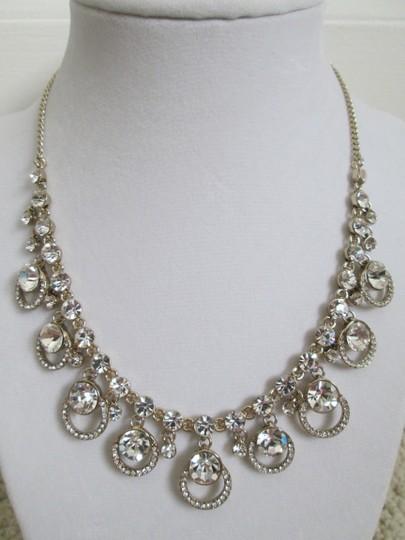 Givenchy Clear Swarovski Crystal Cluster Drop Charm Gold Collar Necklace Image 7
