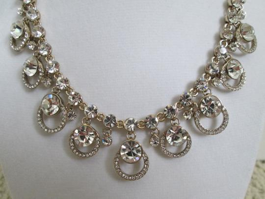 Givenchy Clear Swarovski Crystal Cluster Drop Charm Gold Collar Necklace Image 8