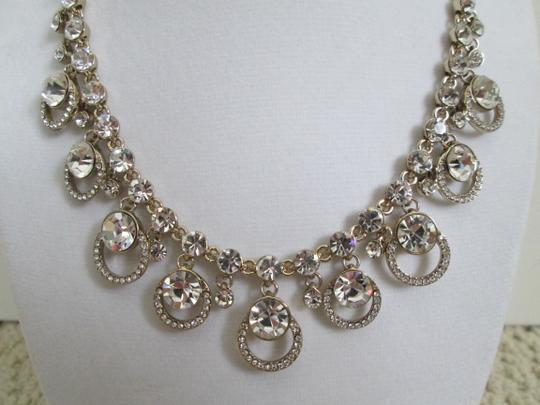 Givenchy Clear Swarovski Crystal Cluster Drop Charm Gold Collar Necklace Image 9