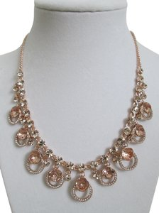 Givenchy Pink Swarovski Crystal Cluster Drop Charm Rose Gold Collar Necklace