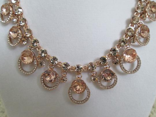 Givenchy Pink Swarovski Crystal Cluster Drop Charm Rose Gold Collar Necklace Image 10