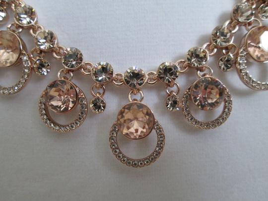 Givenchy Pink Swarovski Crystal Cluster Drop Charm Rose Gold Collar Necklace Image 11