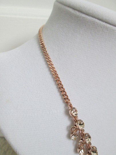 Givenchy Pink Swarovski Crystal Cluster Drop Charm Rose Gold Collar Necklace Image 2