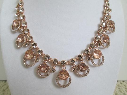 Givenchy Pink Swarovski Crystal Cluster Drop Charm Rose Gold Collar Necklace Image 3