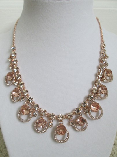 Givenchy Pink Swarovski Crystal Cluster Drop Charm Rose Gold Collar Necklace Image 4