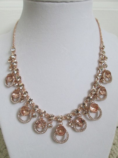 Givenchy Pink Swarovski Crystal Cluster Drop Charm Rose Gold Collar Necklace Image 5