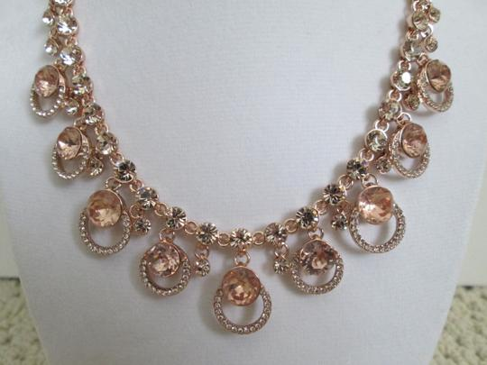 Givenchy Pink Swarovski Crystal Cluster Drop Charm Rose Gold Collar Necklace Image 6