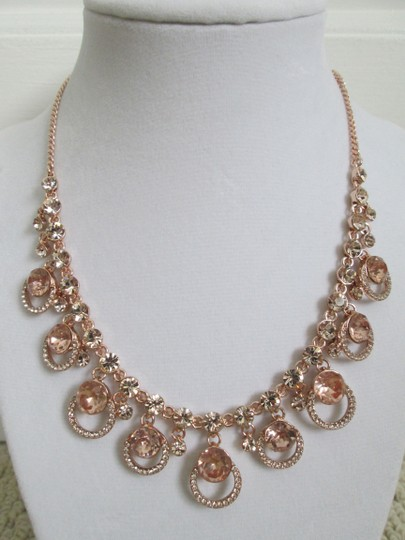 Givenchy Pink Swarovski Crystal Cluster Drop Charm Rose Gold Collar Necklace Image 7