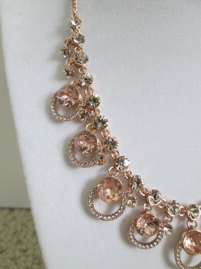 Givenchy Pink Swarovski Crystal Cluster Drop Charm Rose Gold Collar Necklace Image 8