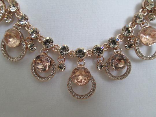 Givenchy Pink Swarovski Crystal Cluster Drop Charm Rose Gold Collar Necklace Image 9